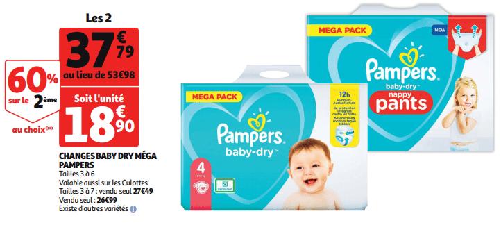 Promo de 1619 € sur 2 Changes Baby Dry Mega Pampers 1