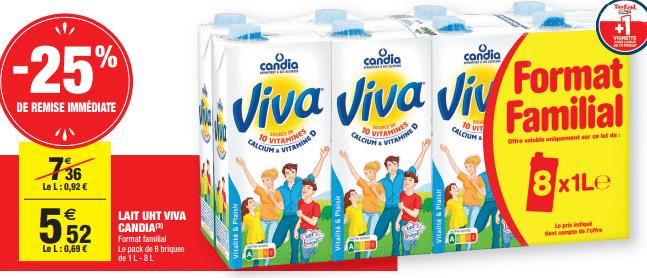 Promo de 184 € sur Lait UHT Viva Candia Format Familial 1