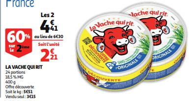 Promo de 189 € sur 2 lot La Vache Qui Rit offre decouverte 1