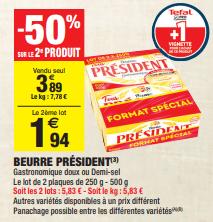 Promo de 195 € sur lot de 2 Beurre President 1