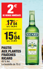 Promo de 2 € sur Pastis aux Plantes Fraiches Ricard 70 cl 1