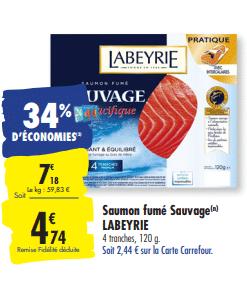Promo de 2.44 € sur saumon fume Sauvage de Labeyrie 2