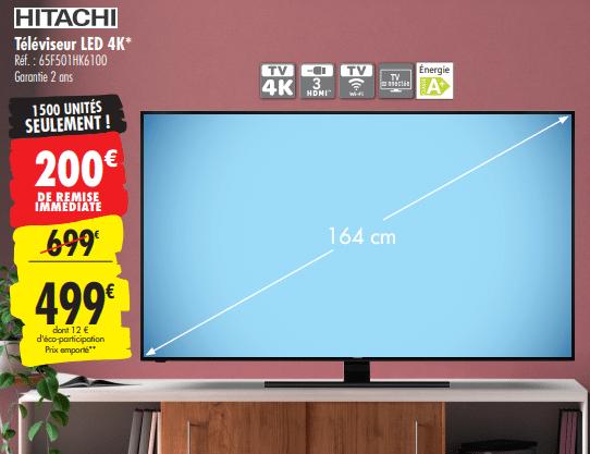 Promo de 200 € sur Televiseur LED 4K Hitachi 1