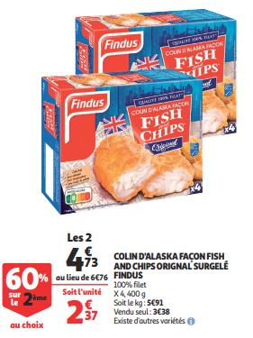 Promo de 203 € sur 2 Lots Colin D Alaska Façon Fish and Chips Surgeles Original 1