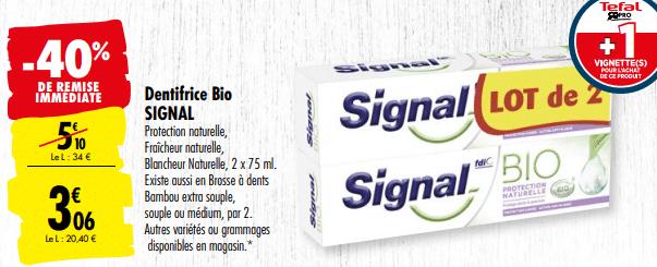 Promo de 204 € sur lot de 2 Dentifrice Bio Signal 1