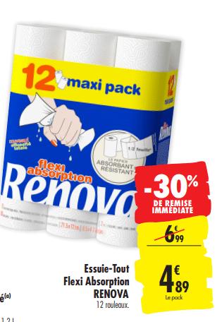 Promo de 21 € sur Essuie tout Flexi Absorption Renova 1