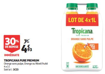 Promo de 212 € sur Tropicana Pure Premium 1