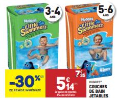 Promo de 221 € sur couches de bain jetables Huggies 1
