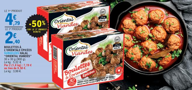 Promo de 239 € sur 2 Paquets Boulettes a l Oriental epicee Halal Oriental Viandes 1