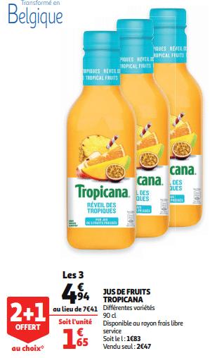 Promo de 247 € sur 3 Jus de fruits Tropicana 1