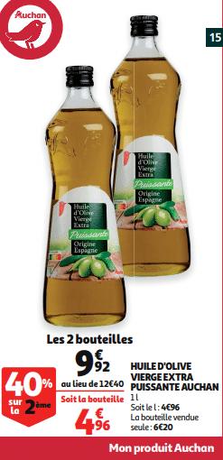 Promo de 248 € sur 2 bouteilles Huile d olive vierge extra puissante Auchan 1