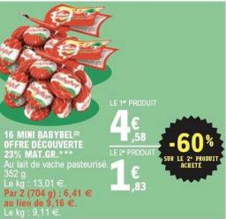 Promo de 275 € sur 2 16 Mini Babybel 1