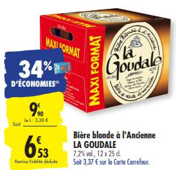 Promo de 3.37 € sur Biere Blonde a l Ancienne La Goudale