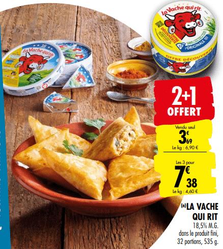 Promo de 3.69 € sur 3 lots de 16 portions Fromage La Vache Qui Rit