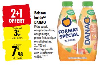 Promo de 3.99 € sur 3 Lots de Boisson Lactee Danao