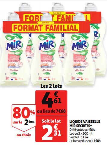 Promo de 307 € sur 2 lots familial Liquide Vaisselle Mir Secrets 1