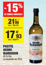 Promo de 316 € sur Pastis Henri Bardouin 70 cl 1