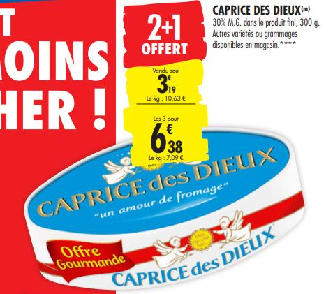 Promo de 319 € sur lot de 3 fromages Caprice des Dieux 1