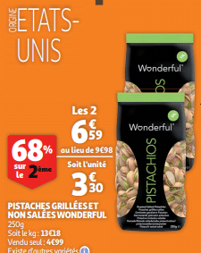 Promo de 339 € sur Pistaches Grillees et non salees Wonderful 1