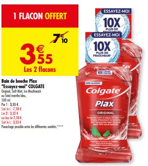 Promo de 355 € sur 2 Flacons Bain de Bouche Plax Colgate 1