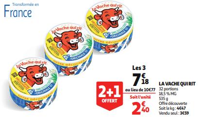 Promo de 359 € sur 3 Fromage en portions La Vache Qui Rit 1