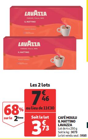 Promo de 384 € sur 2 lots Cafe Moulu Lavazza 1