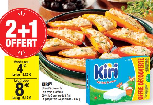 Promo de 4 € sur 3 Paquets de Kiri offre decouverte 1