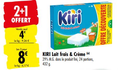 Promo de 4 € sur 3 lots Kiri fromage en portions
