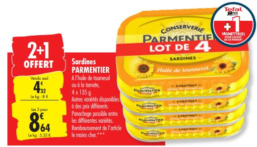Promo de 4.32 € sur 3 packs de 4 lot Sardine parmentier