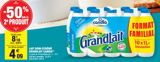 Promo de 409 € sur Lait demi ecreme grandlait Candia format familial 1
