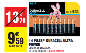 Promo de 411 € sur lot de 14 piles Duracell Ultra Power 1