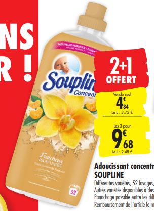 Promo de 448 € sur 3 adoucissant concentre Soupline 1