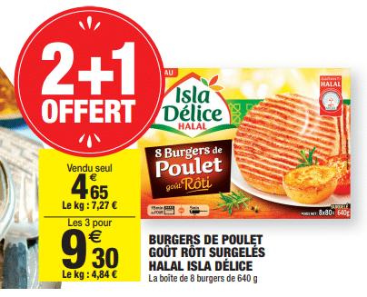 Promo de 465 € sur 3 Boites de Burgers de poulet gout Roti surgeles Halal Isla Delice 1