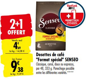 Promo de 469 € sur 3 Dosettes de Cafe Senseo 1