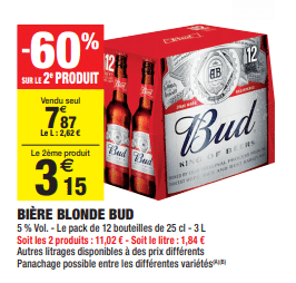 Promo de 472 € sur 2 Packs Biere Blonde Bud 1