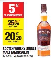 Promo de 5 € sur Scotch Whisky Single Malt Tamnavulin 1