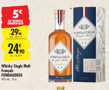 Promo de 5 € sur Whisky Single Malt francais Fondaudege 1