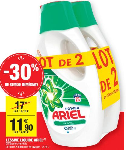 Promo de 51 € sur lot de 2 Lessive Liquide Ariel 1