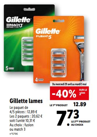 Promo de 516 € sur 2 Paquets Gillette Lames 1
