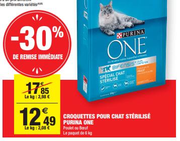 Promo de 536 € sur Croquettes Pour Chat Sterilise Purina One 1