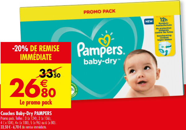 Promo de 67 € sur Couches Baby dry Pampers 1