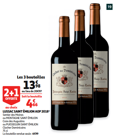 Promo de 699 € sur 3 bouteilles Lussac Saint Emilion AOP 2018 1