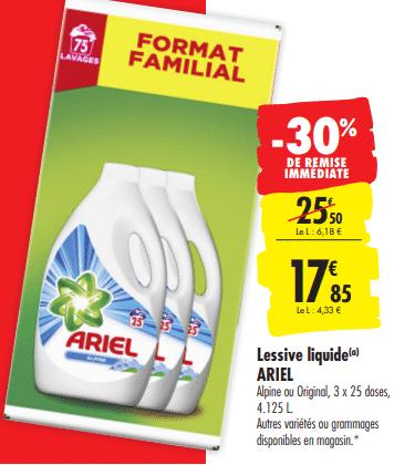 Promo de 7.65 € sur Lessive liquide Ariel 4.125 L