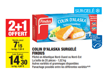 Promo de 715 € sur 3 lot de 3 Colin D Alaska Surgele Findus 1