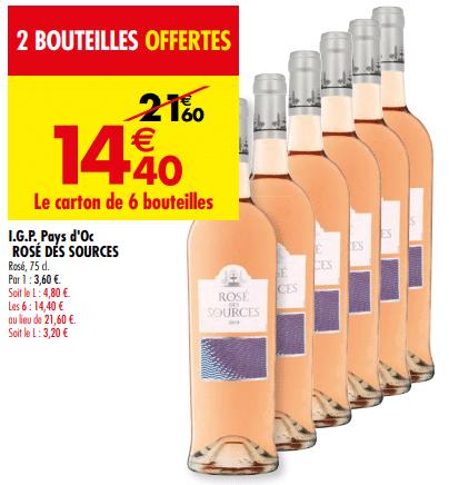 Promo de 72 € sur carton de 6 bouteilles I G P Pays d Oc Rose des Sources 1