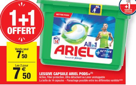 Promo de 750 € sur 2 Lessives Capsules Ariel Pods 1