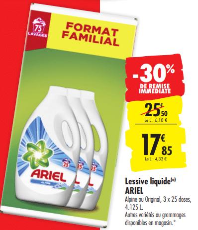 Promo de 765 € sur Lessive liquide Ariel 1