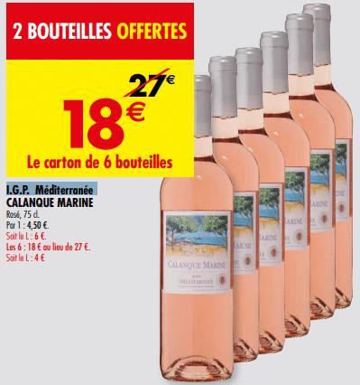 Promo de 9 € sur carton de 6 bouteilles I G P Mediterranee Calanque Marine 1