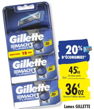 Promo de 9.01 € sur Lames Gillette Mach3 Turbi 3D