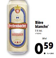 Promo sur Biere Blanche 50 cl Perlenbacher 1